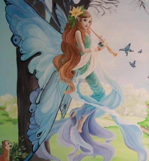 Grote fee elf muurschildering