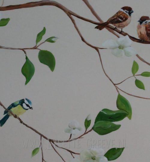 Muurschildering bloesemtak, vogels, bloemen, tak.