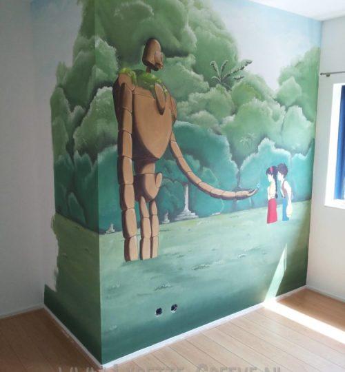 Muurschildering japans animatie
