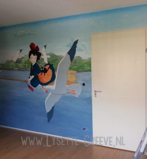 Muurschildering japans animatie Kiki delivery service