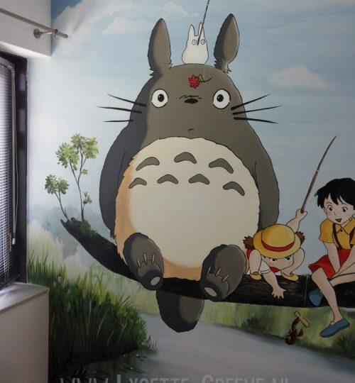 Muurschildering japans animatie Totoro