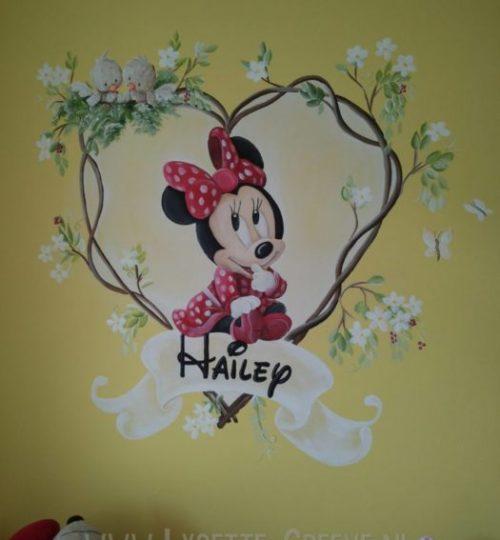 Muurschildering Minnie Mouse,  kinderkamer, babykamer