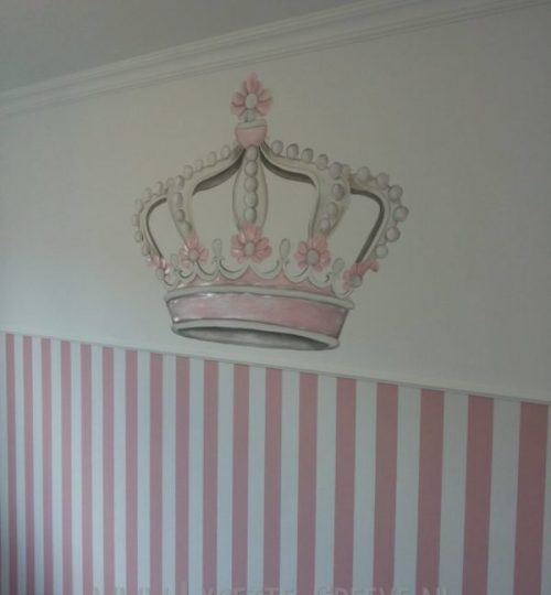 Muurschildering kroon glitters