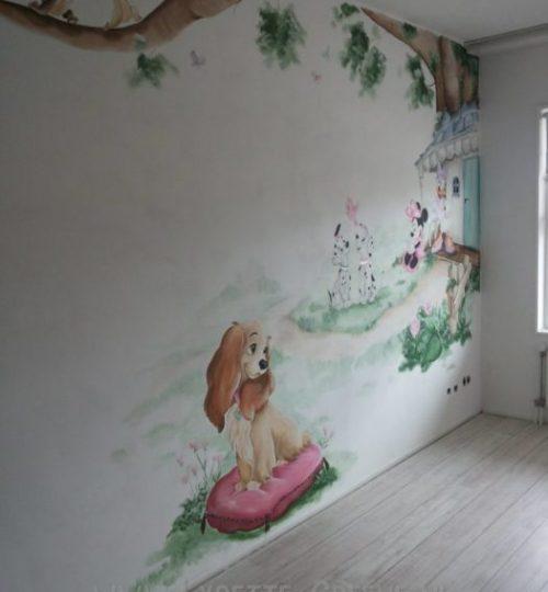 Muurschildering Lady, Minnie mouse, Katrien, babykamer, meisjeskamer