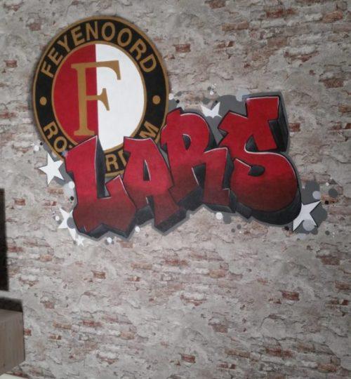 Muurschildering Graffiti, voetbal, voetbalclub, Feyenoord, naam, tienerkamer