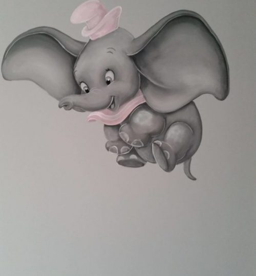 Dombo, olifant Muurschildering