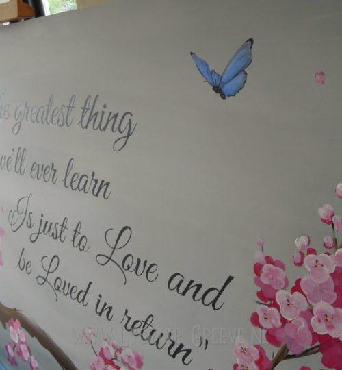 Schildering paneel tekst bloesem vlinders