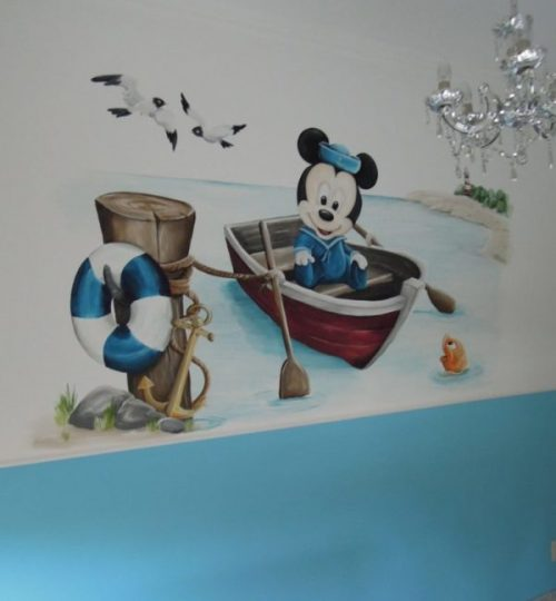 Muurschildering Mickey Mouse, water, zee, boot, babykamer, kinderkamer, jongenskamer