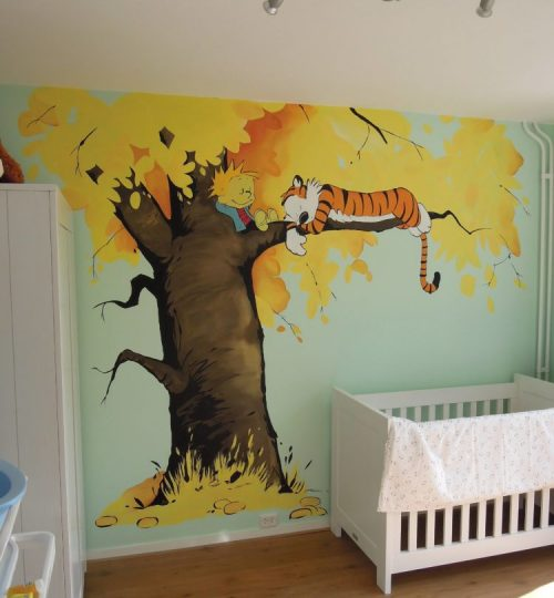 Muurschildering Calvin en Hobbes, animatiestijl, animatie, kinderkamer