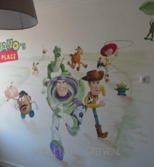 Muurschildering Toystory, buzzlightyear, woodie, kinderkamer, jongenskamer