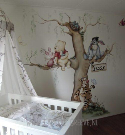 Muurschildering Pooh beer, Eeyore, Tijgertje, kinderkamer, babykamer