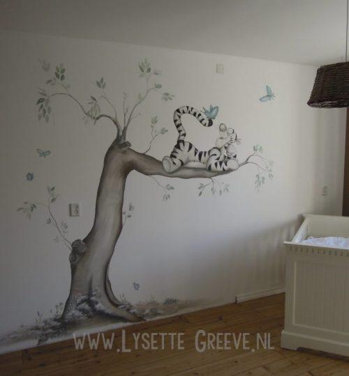 Muurschildering Tijgertje,  door Lysette Greeve