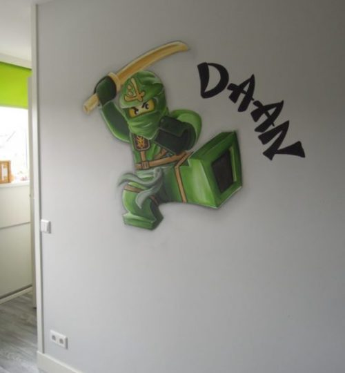 Muurschildering Lego, Lego ninjago, ninja, kinderkamer, jongenskamer
