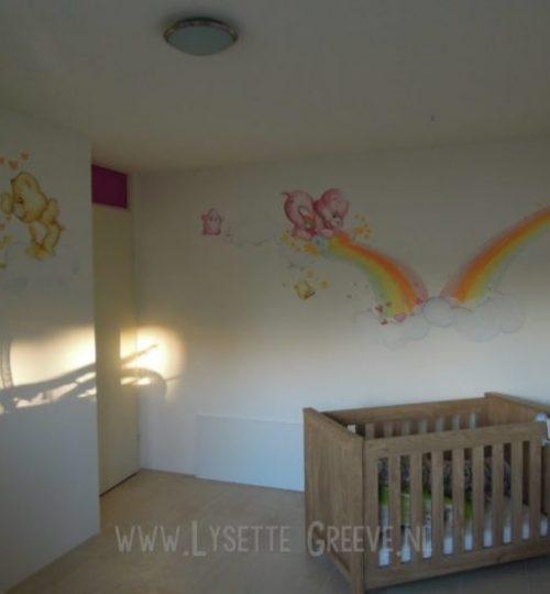 Muurschildering troetelbeertjes, troetelberen, kinderkamer, babykamer