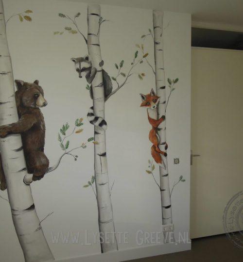 Muurschildering Beer, Vos, Wasbeer, bomen, kinderkamer, tienerkamer