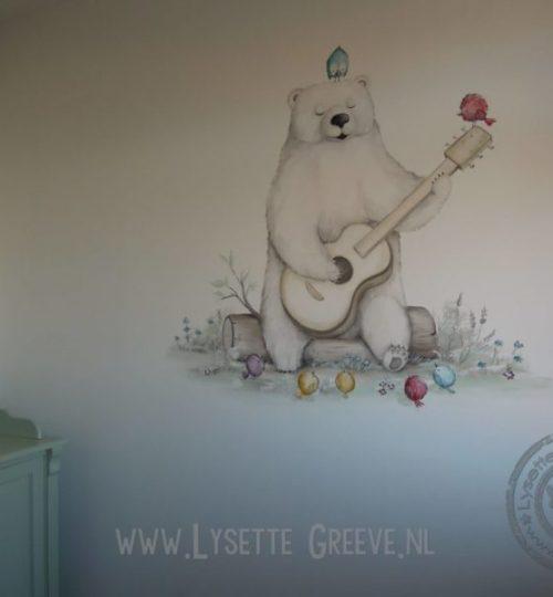 Muurschildering beer,  gitaar, vogels, kinderkamer, babykamer