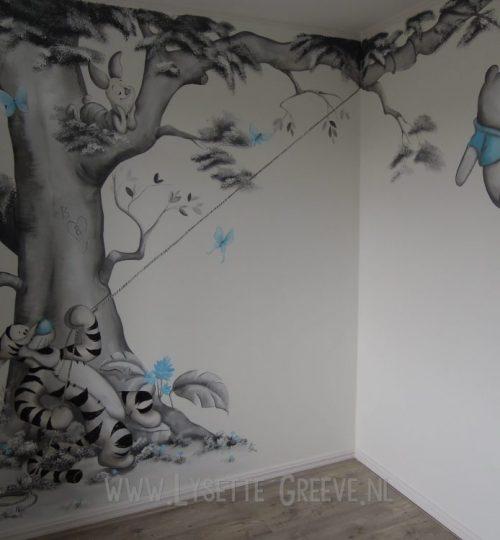 Muurschildering Pooh, Tijgertje, Eeyore door Lysette Greeve