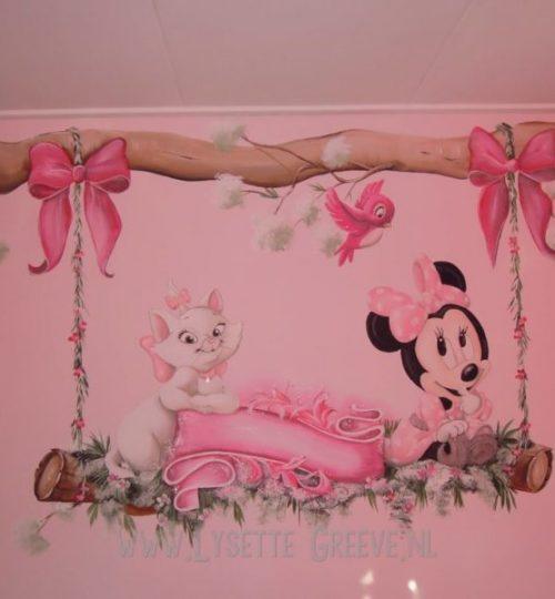 Muurschildering Minnie Mouse, strikken, mari, aristocats, schommel, tak, kinderkamer, babykamer
