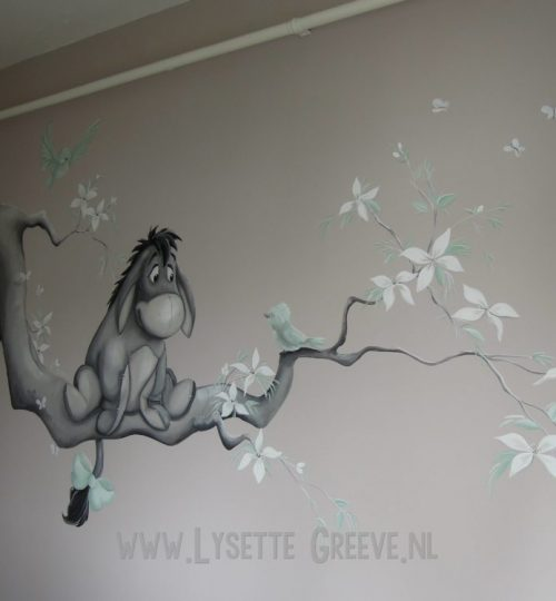 Muurschildering  Eeyore door Lysette Greeve