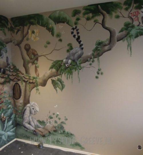 Muurschildering, Boom, apen, aap, boomhuis, uil, junglekamer, jungle, kinderkamer, babykamer
