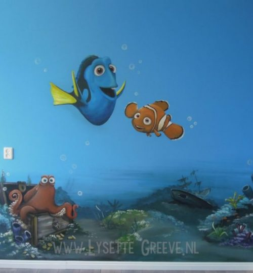 Muurschildering Nemo Dory onderwater