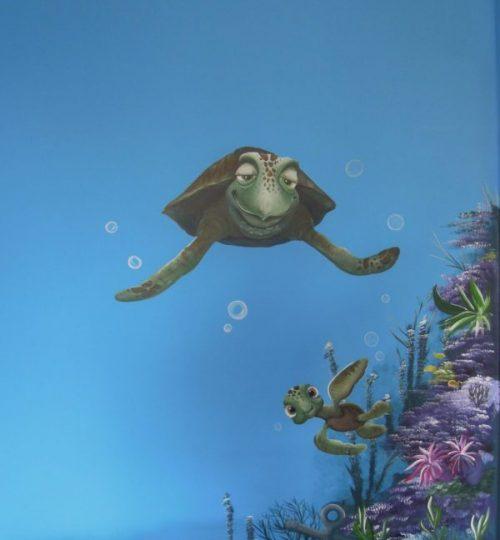Muurschildering Nemo Dory onderwater schildpad