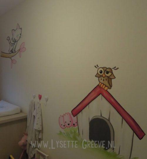 Muurschildering, Woezel en Pip, kinderkamer, babykamer