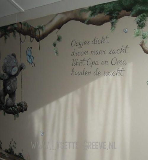 Muurschildering tekst, wordart, handlettering, qoute, schildering.