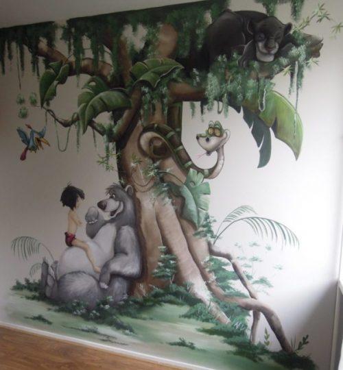 Muurschildering Junglebook, balou, ka, mowgli, jungle, kinderkamer, babykamer