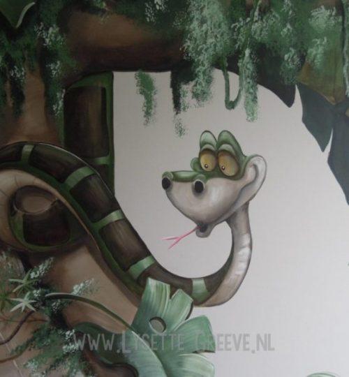 Muurschildering Junglebook, balou, ka, mowgli, jungle, kinderkamer, babykame