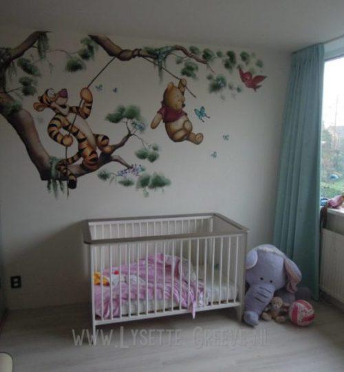 Muurschildering Pooh beer, Tijgertje, kinderkamer, babykamer