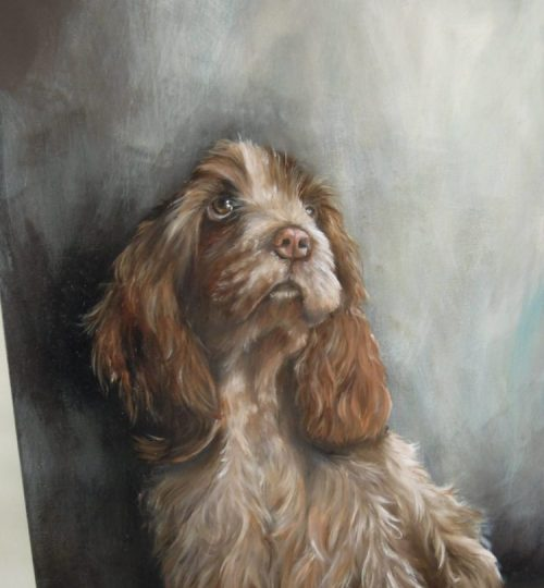 Portret in olieverf, Beppie de cocker spaniel
