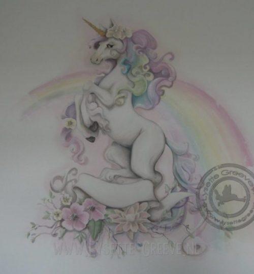 Muurschildering Unicorn