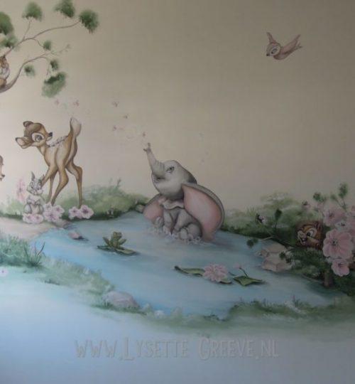 Muurschildering Dombo, Bambi, Feline, uil, water kinderkamer babykamer