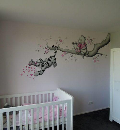 Muurschildering Pooh, Tijgertje, Knorretje door Lysette Greeve