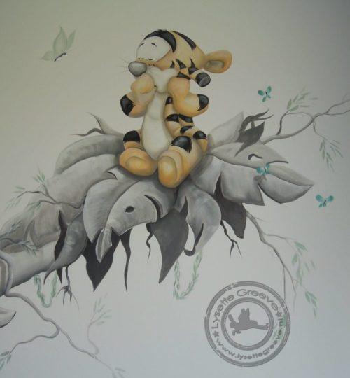 Baby Tijgertje muurschildering door Lysette Greeve