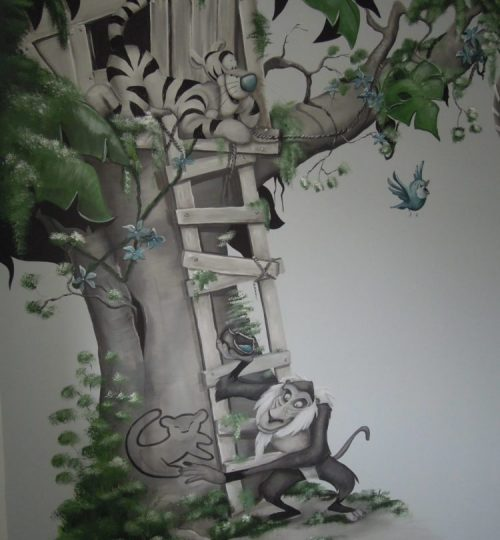 Tijgertje, Rafi, knorretje, boomhut muurschildering door Lysette Greeve