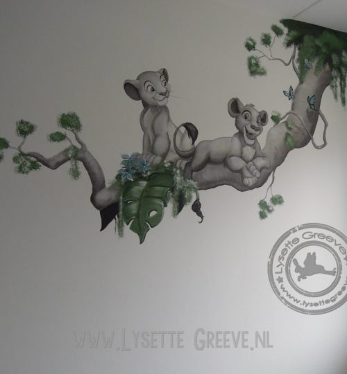 Simba Nala Lion King muurschildering door Lysette Greeve