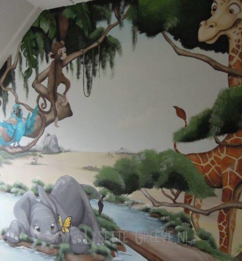 Muurschildering Olifant, Giraffe, Safari, Savanne, Zebra, kinderkamer, babykamer
