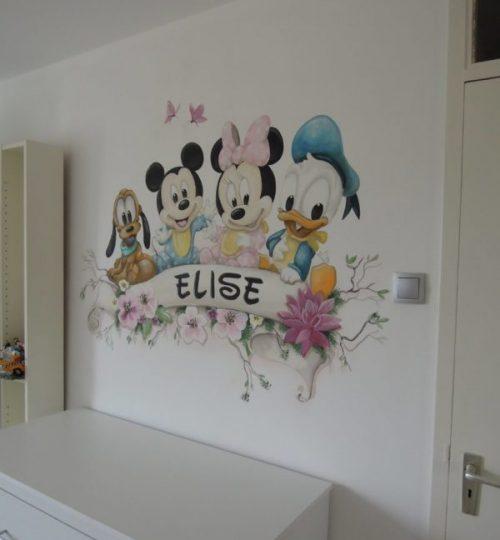 Muurschildering Minnie Mouse, Mickey Mouse, Pluto, Donald Duck  kinderkamer, babykamer
