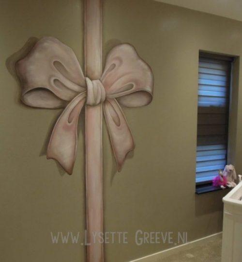 Muurschildering Strik meisjeskamer babykamer