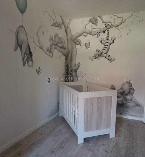 Pooh, Eeyore, Olifant, Tijgertje, Knorretje Muuschildering